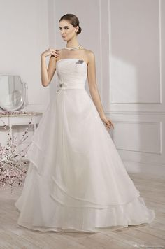 Wholesale Wedding Dress - Buy Amazing Organza Wedding Dresses Strapless A-Line Hand Made Flower Beads Ribbon Ruched Zippper Sleeveless Sweep Train Party Birdal Gowns, $122.22 | DHgate.com