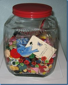 colourful buttons in a vintage jar