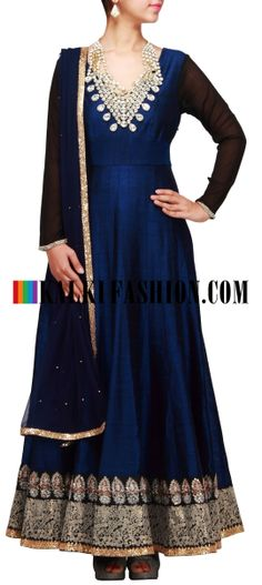 Buy Online from the link below. We ship worldwide (Free Shipping over US$100) http://www.kalkifashion.com/blue-anarkali-suit-with-neckline-done-in-stone-necklace-only-on-kalki.html Blue anarkali suit with neckline done in stone necklace only on Kalki