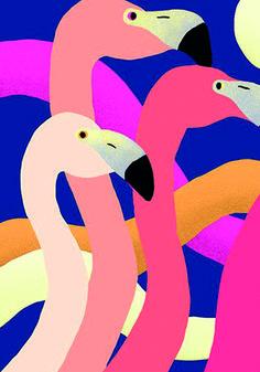 Creative -, Art, Flamingo, Illustration, and Colors image ideas & inspiration on Designspiration Art And Illustration, Flamingo Illustration, Illustration Animals, Animal Illustrations, Creative Illustration, Art Pop, Plakat Design, Graphisches Design, Flamingo Art