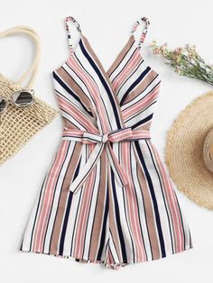 To find out about the Plus Multi-Stripe Tie Waist Cami Jumpsuit at SHEIN, part of our latest Plus Size Jumpsuits ready to shop online today! Teen Fashion Outfits, Look Fashion, Girl Fashion, Girl Outfits, Casual Outfits, Cute Outfits, Womens Fashion, Casual Clothes, Ladies Clothes