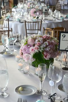 Pink Rose and Hydrangea Centerpieces | Eisenhower Photography | TheKnot.com