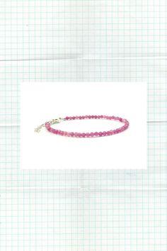 Genuine Pink Tourmaline Natural Color 925 Silver adjustable Bracelet