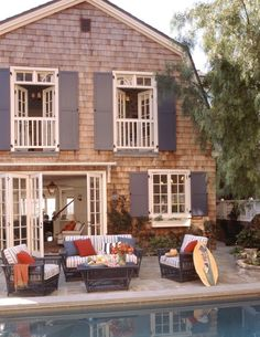 Note the false balconies on the upper french doors - great way to have the look if you don't have the space.