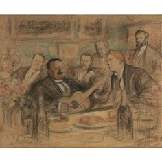 Artwork by Leonid Pasternak, At K.A. Korovin's 'Old Time Songs': Chaliapin and the Artists, Made of mixed media on paper laid down on board