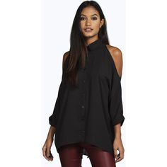 Boohoo Night Naomi Cold Shoulder Split Back Shirt ($30) ❤ liked on Polyvore featuring tops, black, flat top, long sleeve shirts, high neck crop top, long sleeve tops and black shirt