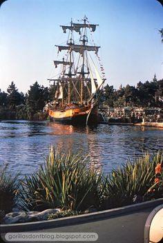 3b48b9034cd Disneyland s Sailing Ship Columbia sails along the (railing-free) Rivers of  America in