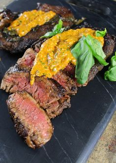 Balsamic and Basil Marinated Steak with Roasted Red Pepper Pesto
