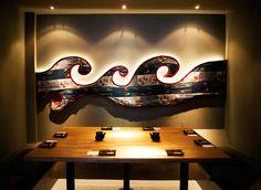 Japanese restaurant in London Cozy Cafe Interior, Cafe Interior Design, Cafe Design, Interior Decorating, Japanese Restaurant Interior, Restaurant Exterior, Restaurant Logo Design, Fish Design, Hospitality Design