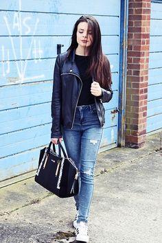 More looks by Edyta Kabata: http://lb.nu/edytakabata  #casual #minimal #street #riverisland #bag #black #ootd #superstars #adidas