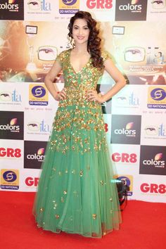 Gauhar Khan in Indian Television Academy Awards 2015 Photos – Hot New Look in Green Sheer Gown - Chinki Pinki Karan Patel, Party Wear, Party Dress, Gauhar Khan, Sheer Gown, Ethnic Dress, Bollywood Fashion, Indian Girls, Dream Dress