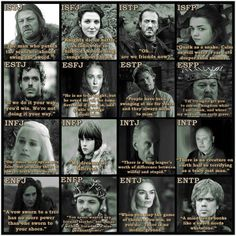 Game of Thrones MBTI types. It helps if you've seen the films!