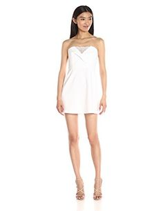 f5496b4d07b9 BCBGMax Azria Women's Madelaine Cocktail Dress with Lace Inset, White, 0 -  http: