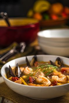 Cioppino _ Originated in the North Beach area of San Francisco by Italian immigrants in the mid to late nineteenth century. Local fisherman pitched in leftovers from the day's catch, including dungeness crab, shrimp, scallops, clams, mussels, and fish   Southern Boy Dishes