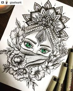 I could drown in those eyes. TAG your artwork with . THIS artwork is done by ・・・ Pasó el tiempo… Abstract Pencil Drawings, Dark Art Drawings, Girly Drawings, Art Drawings Sketches, Pencil Painting, Painting Art, Doodle Art Drawing, Zentangle Drawings, Mandala Drawing