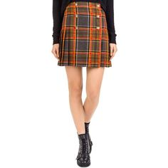 The Kooples Earth Pleated Plaid Button-Up Skirt (235,330 KRW) ❤ liked on Polyvore featuring skirts, grey, gray skirt, grey skirt, knee length pleated skirt, woolen skirt and plaid pleated skirt