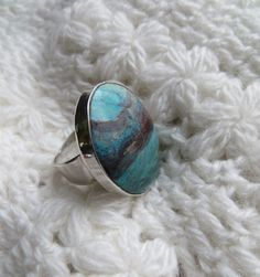Large Peruvian opal and sterling silver ring by PeruNz on Etsy, $62.00
