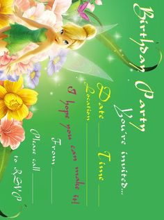 Tinkerbell Birthday Party Invitation Printable , download, print, and use it for your next birthday party.