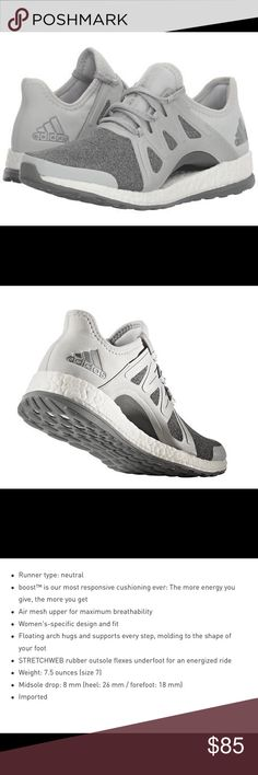 Adidas Pure Boost Xpose Athletic Shoes Immaculate women's running shoes that combine style and performance. Designed to respond to the ways a woman's foot moves as she runs, the shoe's floating arch hugs and adapts your foot from push-off to footstrike. A mesh upper wraps around and underneath the midfoot for a supportive fit and maximum ventilation. NWT, and never worn. However; will be shipped without box. Adidas Shoes Athletic Shoes
