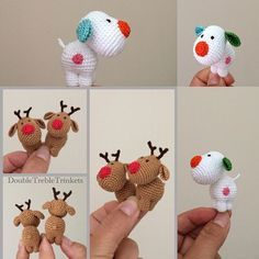 cute kawaii mini gift or decorations to crochet the snow dog and reindeer amigurumi
