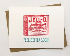 Feel Better Soon Screen Printed Greeting Card by pumpkinandhoneybunny on Etsy https://www.etsy.com/listing/471243767/feel-better-soon-screen-printed-greeting