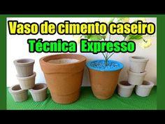 Como fazer vaso artesanal de cimento passo a passo - YouTube