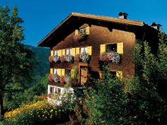 The German Alps in Bavaria, with the typical German houses decorated with flower boxes