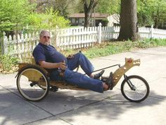AtomicZombie Bikes, Trikes, Recumbents, Choppers, Ebikes, Velos and more: Dragonwood Trike - homebuilt wooden recumbent