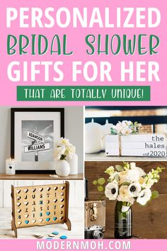 28 Bridal Shower Gifts That Aren\'t on the Couple\'s Registry Personalized Bridal Shower Gifts, Unique Bridal Shower Gifts, Wedding Shower Gifts, Wedding Day Gifts, Bride Gifts, Wedding Ideas, Wedding Vases, Maid Of Honour Gifts, Wedding Keepsakes