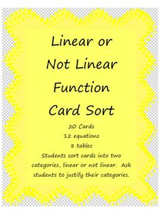 Algebra's Friend: Using Card Sorts in Math Class.great idea and many ways to adapt using the big 4 (algebraically, graphically, numerically, verbally) Algebra Activities, Maths Algebra, Math Resources, Math 8, Basic Math, Math Teacher, Math Classroom, Teaching Math, Teaching Ideas
