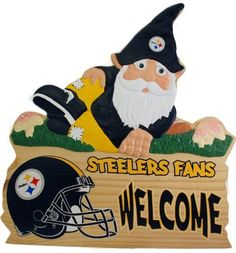 Pittsburgh Steelers Gnome Sign by Unknown. $28.04. Made in China. Decorative NFL? sign. Depicts a gnome, football helmet, and team-colored text. Hangs easily on included cordOfficially licensed. Give guests a whimsical reminder that they're entering a fan zone when they come to your home! This cute Team Beans? gnome sign depicts a gnome dressed up in spirited attire, while team-colored text and a helmet graphic welcome fellow NFL? fans to your abode.