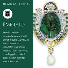 This Egyptian revival piece was auction by Christies Geneva for about $21,000 in 2010 - it features a carved emerald cameo of an ancient Egyptian head Geneva, Egyptian, Fun Facts, Emerald, Auction, Carving, Gemstones, Christmas Ornaments, Holiday Decor