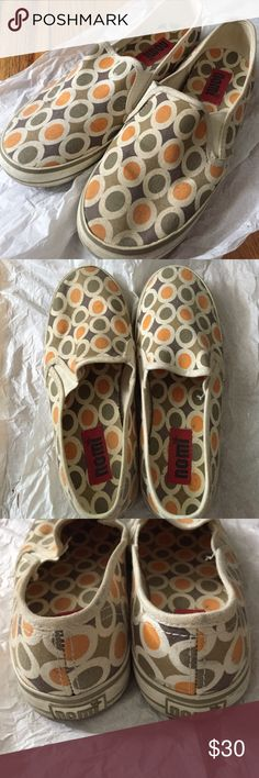 Slip on Sneakers in Orange & Green Circle Pattern Worn a few times. Still in good condition Nomi Shoes Flats & Loafers