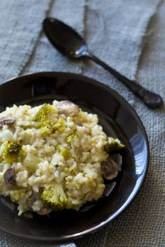creamy broccoli and mushroom risotto