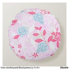 Cute colorful pastel floral pattern round pillow