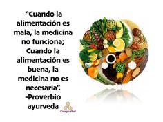 Cuando la alimentación es mala, la medicina no funciona; cuando la alimentación es buena, la medicina no es necesaria. Proverbio ayurveda.