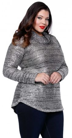 Belldini plus size clothing is focused on making you and your clothing shine. Metallic long sleeve cowl neck sweater is just one of our most loved pieces!