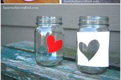 Potes de vidro decorados com silhueta