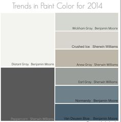 Normandy or Van Deusen blue. Trends in Paint Color for 2014 {Remodelaholic} Interior Paint Colors, Paint Colors For Home, Paint Colours, Wall Colors, House Colors, Peppercorn Sherwin Williams, Van Deusen Blue, Anew Gray, Colour Schemes