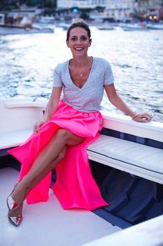 Neon pink maxi skirt.