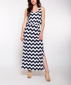 $14.99 marked down from $32! Navy Chevron Side-Slit Maxi Dress #navy #chevron #zulilyfinds