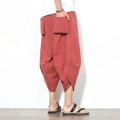 Men New Cotton Linen Wide Leg Pants Japanese Style Kimono Male Fashion Casual Loose Comfortable Trousers Skirt Pant Harem Pants Men, Baggy Pants, Harem Shorts, Loose Pants, Men's Fashion, Fashion Pants, Unique Fashion, Fashion Ideas, Japanese Pants