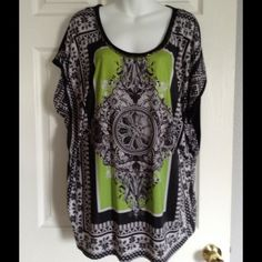 Springtime top Lime green and black summary blouse. There is a gold chain on the neckline for jewelry purposes. There's a slight gathering or rushing on each side of the waistline.  There is one small spot on the blouse as seen in the third picture. Tops