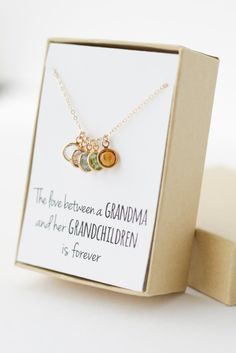 Give grandma a beautiful necklace with charms that represent each of her grandchildren. Click the link for more Mother's Day gifts.