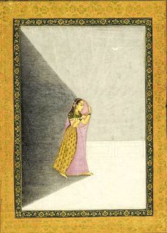 Lady holding a lamp, Delhi, This painting depicts a shoeless Mughal lady walking along a moonlit terrace holding a small lamp which she conceals under her dupatta. As in the facing image, her body throws a dark shadow behind her. Mughal Paintings, Indian Paintings, Medieval Paintings, Indian Folk Art, India Art, Krishna Art, Traditional Paintings, Tribal Art, Islamic Art