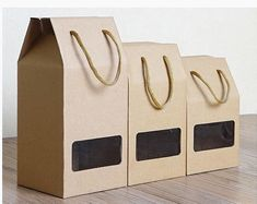 Items similar to 10 x Kraft Box With Handle&Clear Window on Etsy Fruit Packaging, Food Packaging Design, Flower Packaging, Gift Packaging, Paper Bag Design, Coffee Box, Kraft Boxes, Cardboard Paper, Custom Boxes