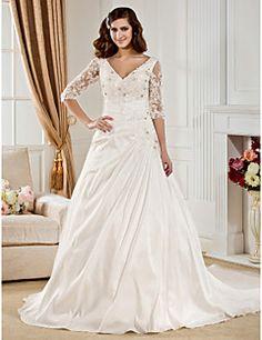 Lanting+Ball+Gown+Plus+Sizes+Wedding+Dress+-+Ivory+Chapel+Tr...+–+USD+$+179.99