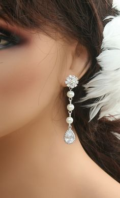 Bridal jewelry Pearl rhinestone earrings Dangle by ElegantAvenues