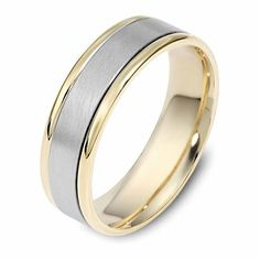 Dora Dualtone Striped Mens Wedding Band. Featuring a brush finish interior accented by high polish stripes on the edges, this modern mens' wedding band is crafted from white and yellow gold.