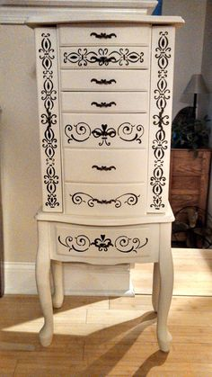 Painted jewelry armoire